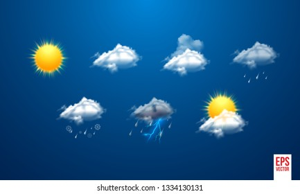 Realistic weather icons set isolated on transparent background vector illustration - Vector