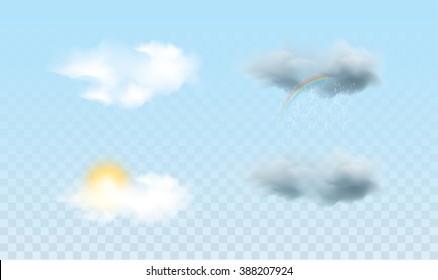 Realistic weather icons. Sun, moon, clouds, rainbow, rain ...