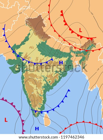 Realistic Weather Map India Showing Isobars Stock Vector Royalty