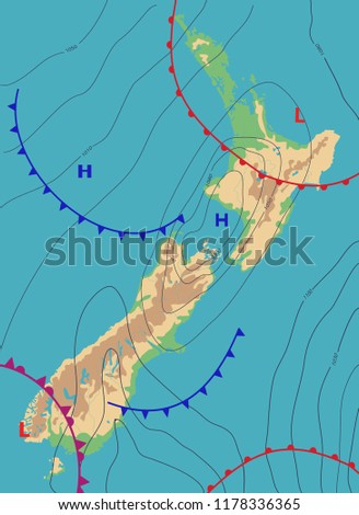 New Zealand Weather Map.Realistic Weather Map New Zealand Showing Stock Vector Royalty Free