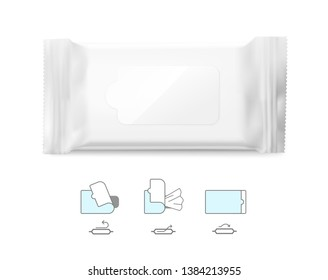 Realistic wet wipes mockup with signs. Vector illustration isolated on white background. Can be use for your design, promo, adv and etc. Possibility for food, pharmaceutical, cosmetic. EPS10.