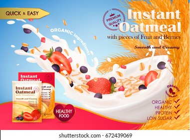 Realistic wheat, oat, strawberry, blueberry; milk, yogurt splash, drops. 3d Vector illustration, background, instant oatmeal ad: milk splash, oatmeal fiber, flavor, food design, product ad