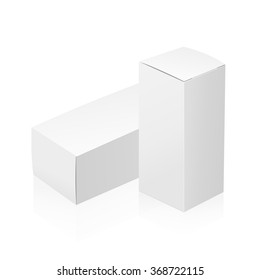 Realistic white 3D boxes isolated on white background. Template vector illustration for your design.
