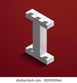 Realistic white 3d isometric letter I of the alphabet from constructor lego bricks. White 3d isometric plastic letter from the lego building blocks. Lego letters. 3d letters. 3d design