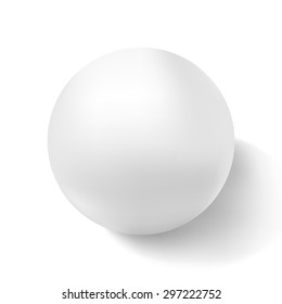 Realistic white 3d sphere on light background. Vector illustration.