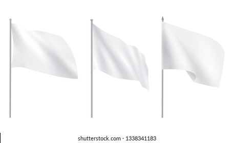 Realistic white advertising textile flags, various clean empty white mockup. Vector template, collection of empty fabric canvas poster.Vector Illustration - Vector