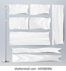 Realistic White Advertising Textile Flags And Banners Vector Set. Advertising Flag Banner And Fabric Canvas Poster For Advertising Illustration