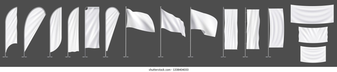 Realistic white advertising textile  vector flags and banners, set. Vector mockup, template, collection of empty fabric canvas poster for advertising. -Vector