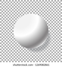 Realistic white ball isolated on transparent background. Vector