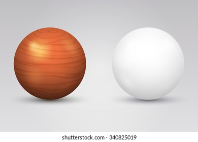 Realistic white ball and wooden sphere. Round shape, geometry globe figure, vector illustration