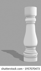 Realistic White Baluster with shadow on a transparent background.