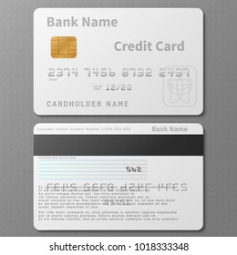 Realistic white bank credit card with chip vector template isolated. Bank card with chip, credit plastic banking card illustration