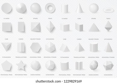 Realistic white basic 3d shapes in top and front view isolated on the alpha transperant background.