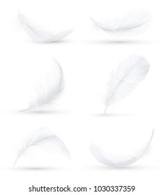 Realistic white bird feathers images set in 6 various positions and angles with shadow isolated vector illustration