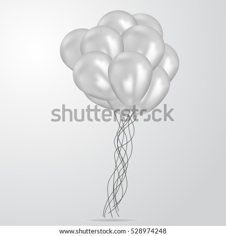 Realistic White Birthday Balloons Flying For Party Or Celebrations Space Message Isolated On