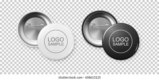 Realistic white and black button badge icon set isolated on transparent background. Front and back view. Vector design template for branding, advertise etc. EPS10 mockup.