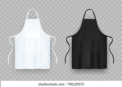 Realistic white and black kitchen apron. Vector image.