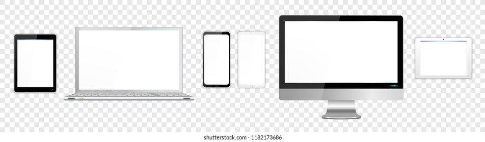 Realistic White and Black Modern Computer Screen Laptop Tablets SmartPhone