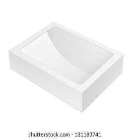 Realistic White Black Package Box lying with a transparent plastic window. For Software, electronic device and other products. Vector illustration