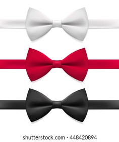 Realistic white, black and red bow tie, vector illustration, isolated on white background.