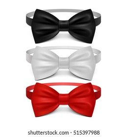 Realistic white, black and red bow tie vector set. Bow tie for ceremony, classic garment butterfly bow tie illustration