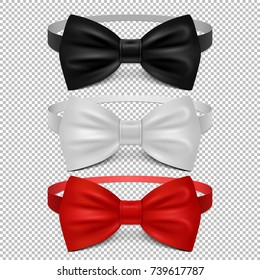 Realistic white, black and red bow tie isolated on transparent background. Set of tie bow knot silk, elegance and fashion formal classic garment. Vector illustration