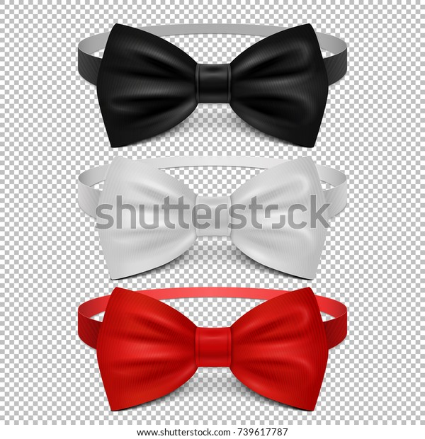 98aa9495 Realistic white, black and red bow tie isolated on transparent background.  Set of tie