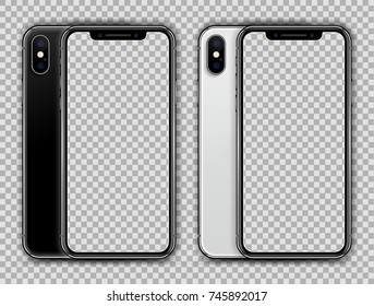 Realistic White and Black Slim Smartphone isolated on Transparent Background. New Version. Front and Rear View Display. High Detailed Device Mockup Separate Groups and Layers. Easily Editable Vector.