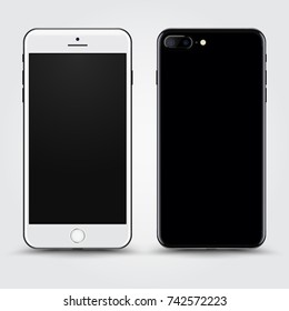 Realistic White Black Smartphone with Blank Screen isolated on Background. Front and Back View For Web, Application. High Detailed Device Mockup Separate Groups and Layers. Easily Editable Vector