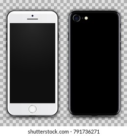Realistic White Black Smartphone with Blank Screen Isolated on Background. Front and Back View For Web, Application. High Detailed Device Mockup Separate Groups and Layers. Easily Editable Vector.