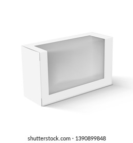 Realistic White Blank Cardboard Take Away Box Packaging With Transparent Plastic Window. EPS10 Vector