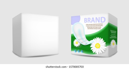 Realistic white blank and with label sanitary napkins packaging box mockup set, vector isolated illustration. Feminine hygiene pads pack templates for brand advertising poster, banner.