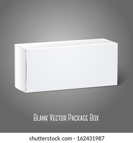 Realistic white blank paper package box. Isolated on grey background for design and branding. Vector