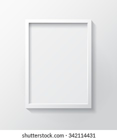 Realistic White Blank Picture frame, hanging on a White Wall from the Front.  Design Template for Mock Up. Vector illustration