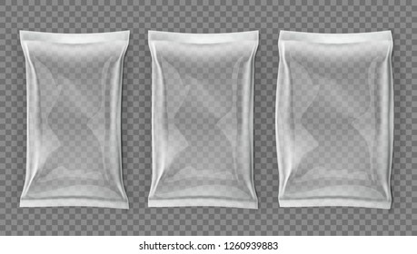 Realistic White Blank Slim And Fat Pouch Pack Set. EPS10 Vector