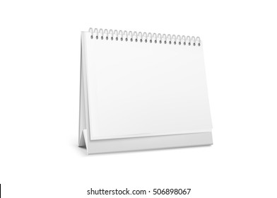 Realistic white blank standing desk calendar with a spiral. Vector EPS10 illustration.