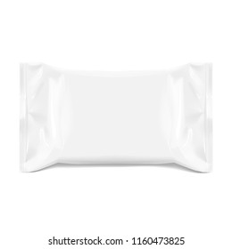 Realistic White Blank template Packaging Foil for wet wipes. realistic foil package. Package for food. Template For Mock up Your Design. 3D illustration. Vector illustration