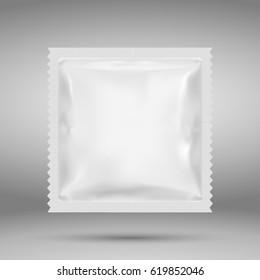 Realistic White Blank template Packaging Foil wet wipes. Food Packing Coffee, Salt, Sugar, species