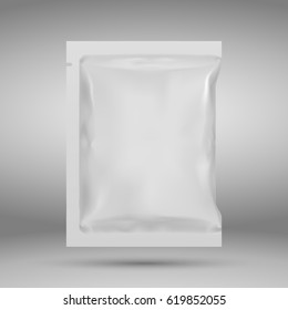 Realistic White Blank template Packaging Foil wet wipes. Food Packing Coffee, Salt, Sugar, species