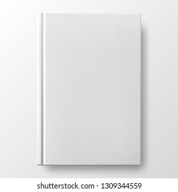 Realistic white book with a blank cover. Vertical closed book mockup isolated on white background. White blank cover. Book blank cover isolated mockup
