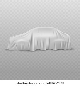Realistic white car with fabric or cloth curtain cover of silk or satin. Hidden car for show or presentation. Isolated vector illustration of car with curtain cover on transparent background .