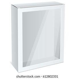 Realistic White Cardboard Box with a transparent plastic window. illustration
