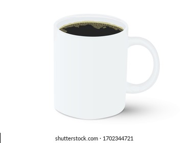Realistic white ceramic coffee cup with black coffee vector illustration