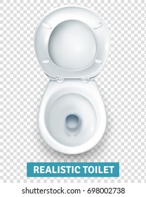 Realistic white ceramic toilet bowl top view with raised seat on transparent background isolated vector illustration