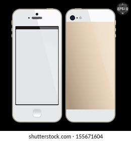 Realistic white & champagne mobile phone with blank screen isolated on black, Vector