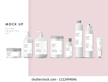 Realistic white cosmetic cream container and tube for cream, ointment, toothpaste, lotion Mock up bottle. Gel, powder, balsam, with empty label. Soap pump. Containers for bulk mixtures