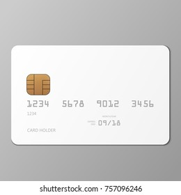 Realistic white credit card mockup template with shadow, vector illustration