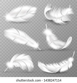 Realistic white feathers. Birds plumage, falling fluffy twirled feather, flying angel wings feathers. Realistic isolated vector easy transparent goose animal plume logo set