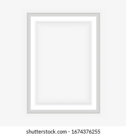 Realistic White frame isolated on grey background. Perfect for your presentations. Vector illustration.