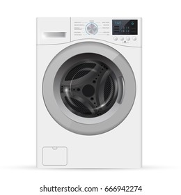 Realistic white front loading washing machine on a white background.